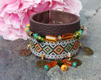Aztec Ribbon and leather cuff