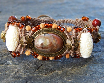 Boho rhodonite and coral bracelet