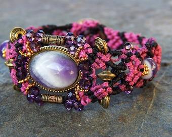 Amethyst semi precious stones bracelet