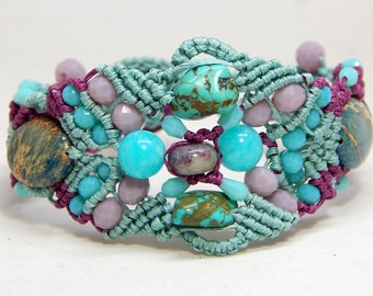 Turquoise and Jaspe semi precious stones bracelet