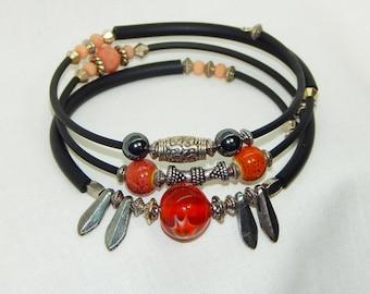 Orange and silver bracelet