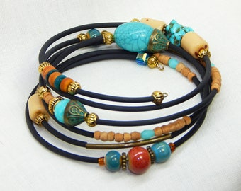 Turquoise and ochre bracelet