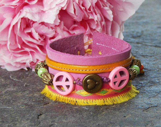 Featured listing image: Cuff leather pink peace and love
