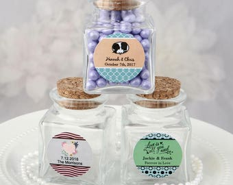 24 Personalized Square clear glass treat jar- Set of 24