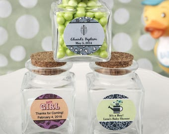 24 Personalized Baby Shower Square clear glass treat jar- Set of 24