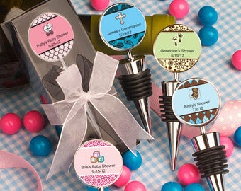 24 Personalized Baby Shower Wine Bottle Stopper Favors - Set of 24