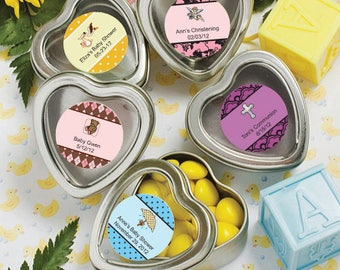 50  Personalized Baby Shower Heart Shaped Boxes / Mint Tins - Set of 50