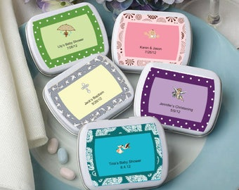 50 Personalized Baby Shower Rectangular White Mint Tins - Set of 50