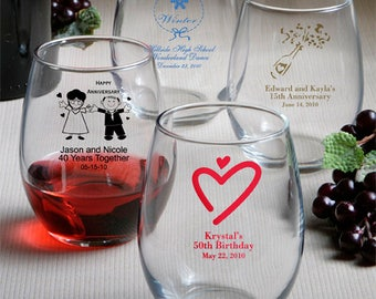 50 Personalized stemless wine glasses - set of 50