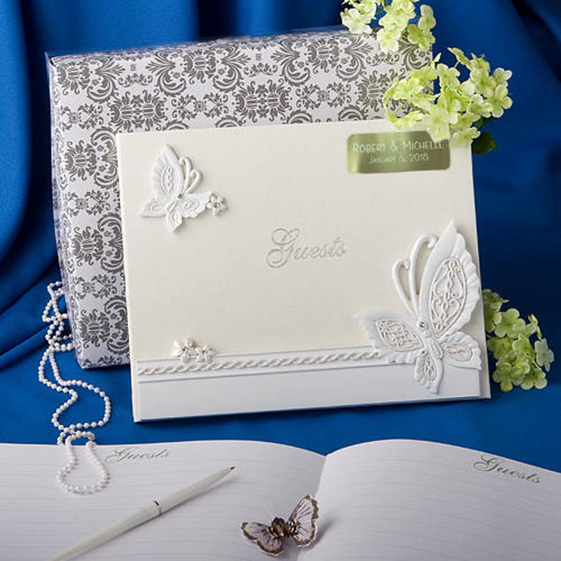 Personalized Engraved Butterfly Design Wedding Guest Book