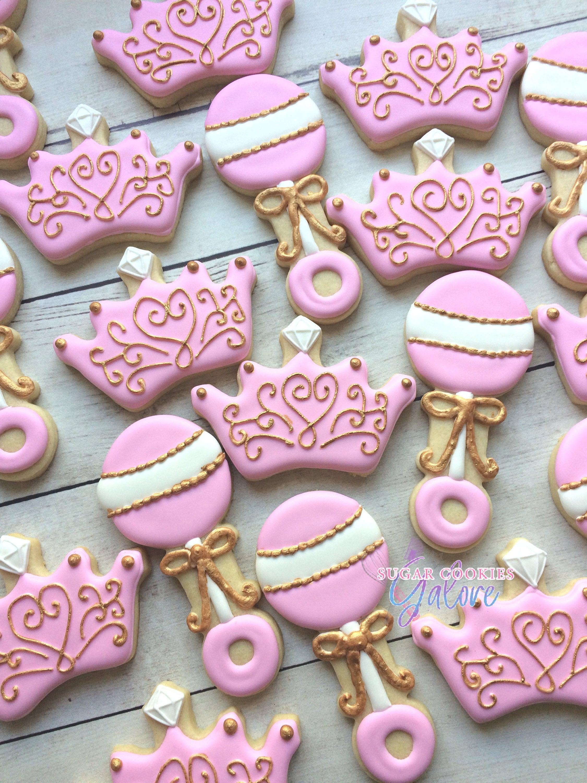2 dozen Princess baby shower sugar cookies Pink & gold baby | Etsy