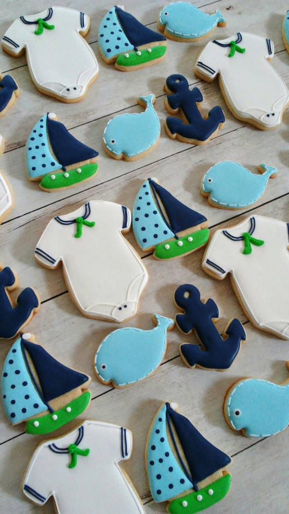 Nautical Baby Boy Shower Cookies Boats Anchors Whales