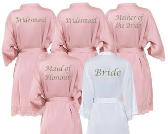 33cad92d64 Personalised Satin Rose Pink Lace Bridal Robes - Glitter Print Dressing  Gowns -Wedding Robes- Bride - Bridesmaid -Bridal Dressing Gown. uk