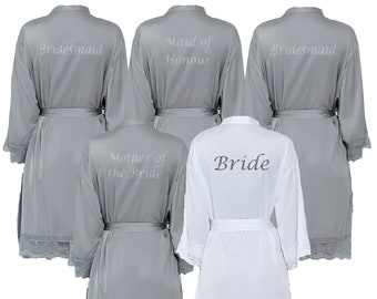 9a651c01b3 Personalised Satin Grey Lace Bridal Robes - Glitter Print Dressing Gowns -Wedding  Robes- Bride - Bridesmaid -Bridal Dressing Gown. uk