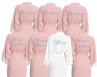 336d7de60c826 Personalised Blush Pink Diamante Lace cuff Bridal Party Robes - Dressing  Gowns -Wedding Robes- Bride - Bridesmaid -Bridal Dressing Gown
