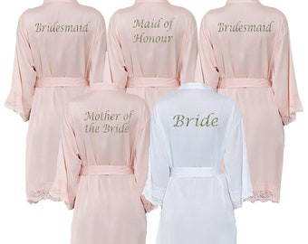 b843de28ac Personalised Satin Blush Pink Lace Bridal Robes - Glitter Print Dressing  Gowns -Wedding Robes- Bride - Bridesmaid -Bridal Dressing Gown. uk