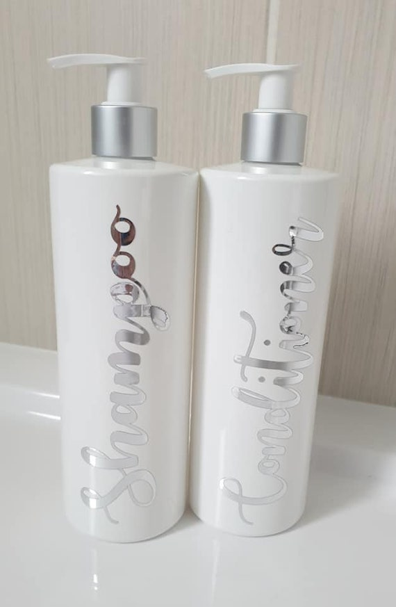 Reusable soap dispenser Set of 2 Hinch Inspired White Bathroom Pump Bottles