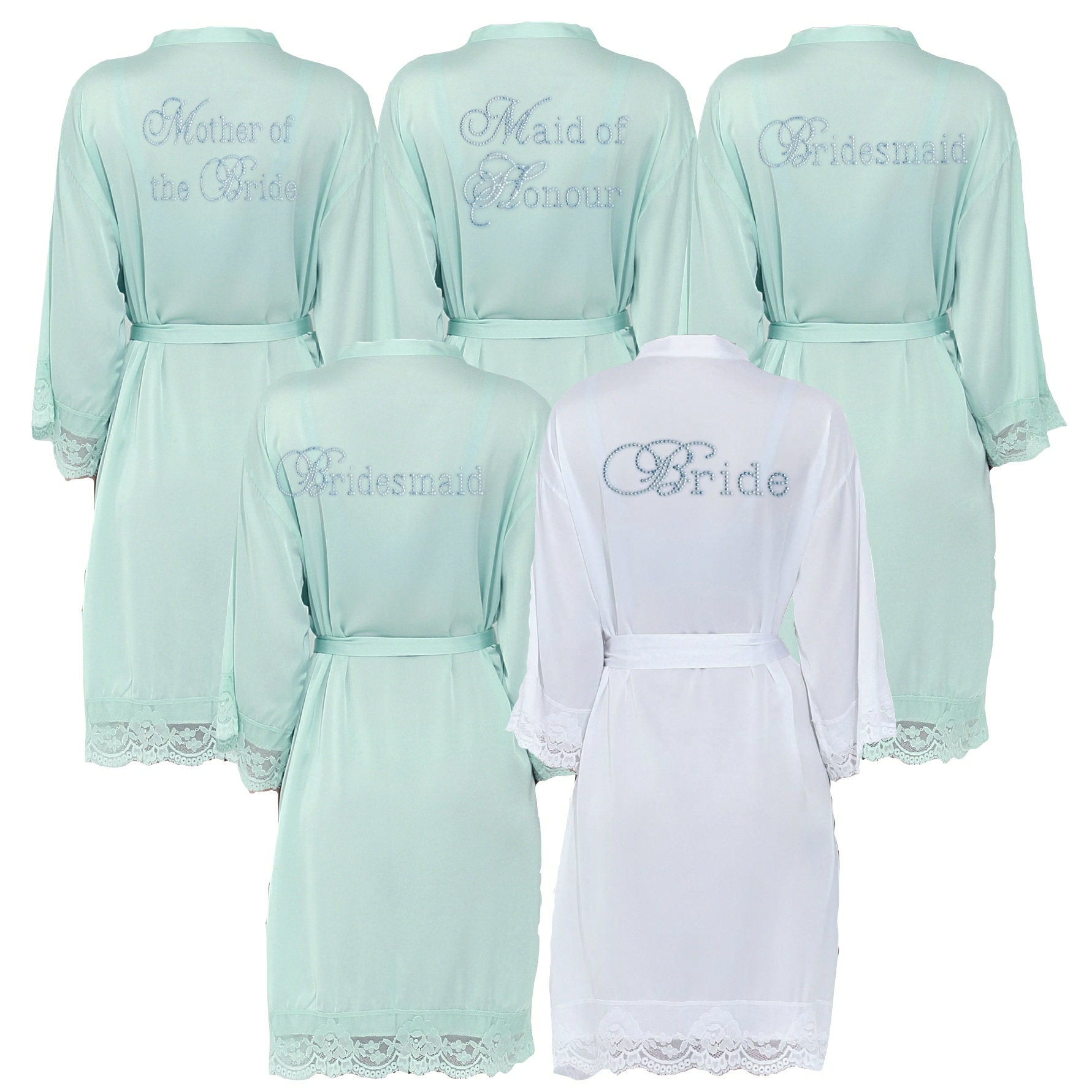 Personalised Satin Aqua Diamante Lace Bridal Robe Dressing  f7a9442127e