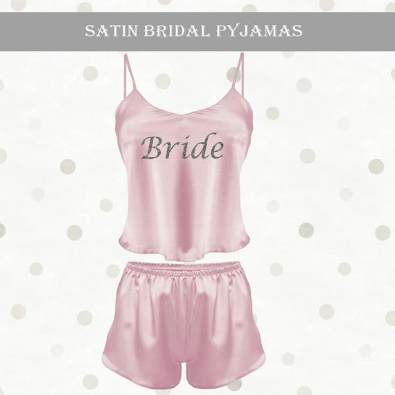 df392e6e9f Personalised Light Pink Bride satin cami set   shorts