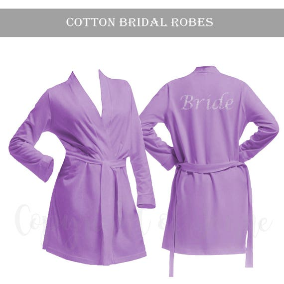 Personalised Lilac Cotton Bridal Party Robe Bride Dressing | Etsy