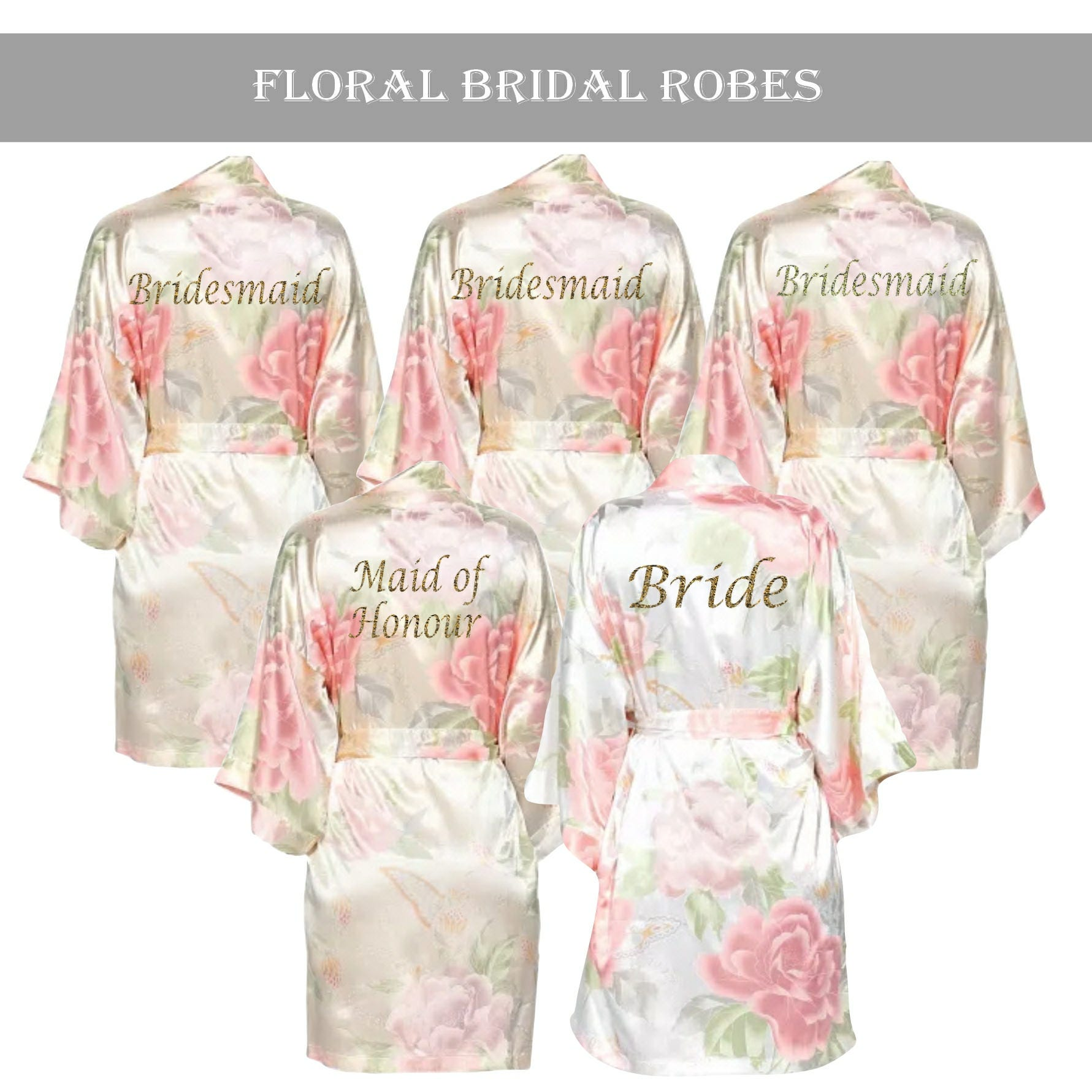 Personalised Vintage Floral Satin Bridal robe Champagne set. | Etsy