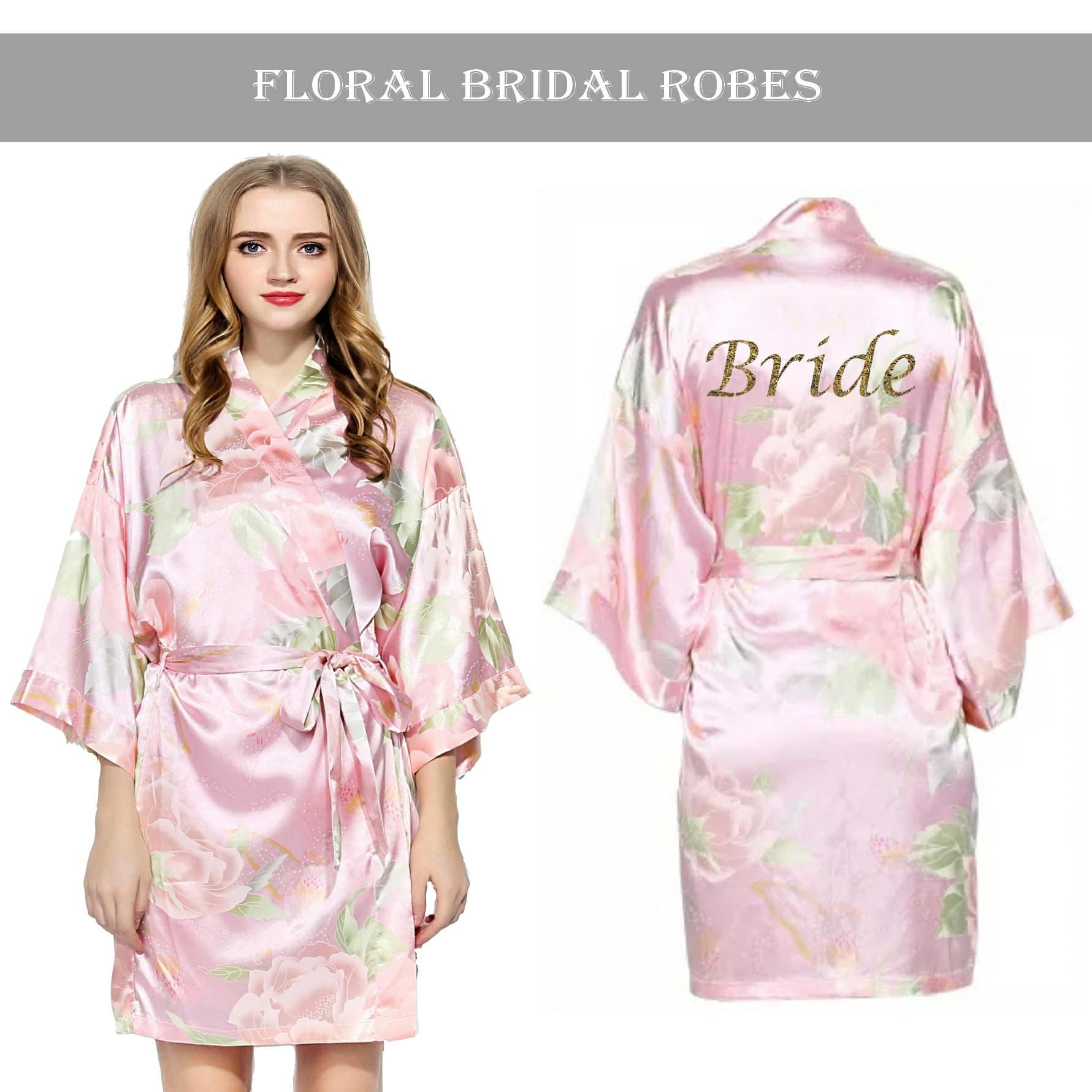 Personalised Vintage Floral Satin Bridal Robes-Light Pink. | Etsy