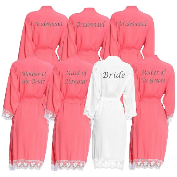 Personalised Coral Lace cuff Bridal Party Robes Dressing | Etsy