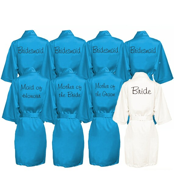 Set of 8 Satin Bridal Party Robes Dressing Gowns Wedding  043323e110b