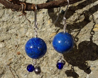 Silver earrings, lapis lazuli, Freshwater Pearl drop earrings earrings, Navy Blue Stud Earrings, dangle earrings.