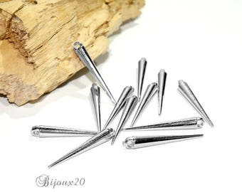 50 34 mm silver toned mat set M01848 CCB spike Cone charms