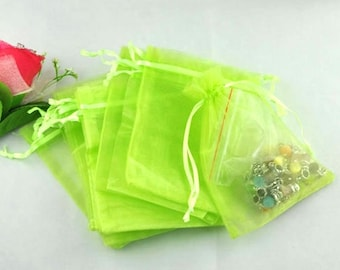 5 light green organza pouches 9x7cm wrapped jewelry gift pouch M03009-04