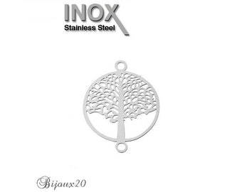2 connectors print tree of life filigree stainless steel set M04702 19x15mm