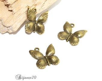2 charms Butterfly bronze 18mm pendant M01832-09