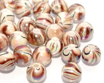 20 beads 8mm acrylic AB Brown mother of Pearl style tréfilée Lot M02201-05