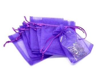 5 bags organza purple 9x7cm wrapped jewelry gift pouch set M03009-05