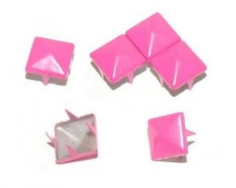 10 9mm pink FUCHSIA claw rivet customisation M00324 pyramid studs