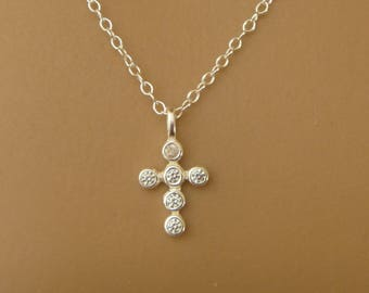 Cross Necklace with CZ Crystals - Sterling Silver Religious Necklace - Cross Pendant - Christian Jewelry - Baptism Necklace