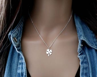 Clover Necklace - 925 Sterling Silver Four Leaf Clover Necklace - Shamrocks Goodluck Necklace