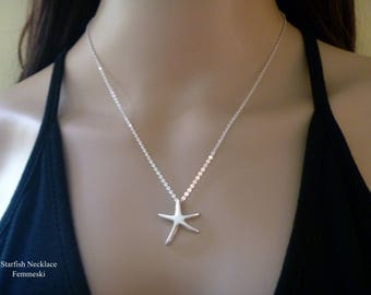 Starfish Necklace - Sterling Silver Starfish Pendant - Sea Star Necklace - Womens Beach Jewelry - Beach Wedding - Bridesmaid Gifts