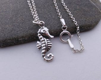 3D Seahorse Necklace - 925 Sterling Silver Seahorse Charm Necklace - Ocean Jewelry - Beach Charm