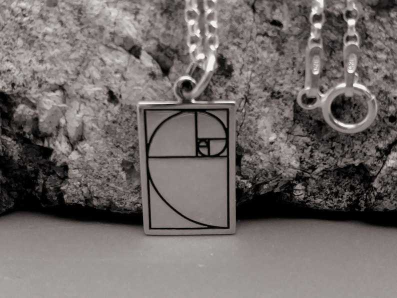 Golden Ration Fibonacci Sequence charm Sterling Silver Golden Ratio Charm or Necklace gift for her or him Geometric Jewelry