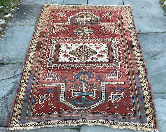 Antique Caucasian rug, Fachralo Kazak, c1900, 3x5, intact, wool w/ vegetable dyed colors