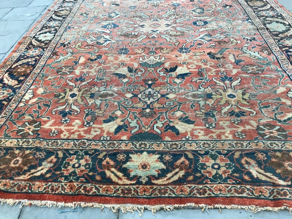 SOLD.9 x 11Authentic 1870 Sultanabad Mahal, all hand knotted wool, vegetable dyed colors, RARE, naturally distressed,designer rug.