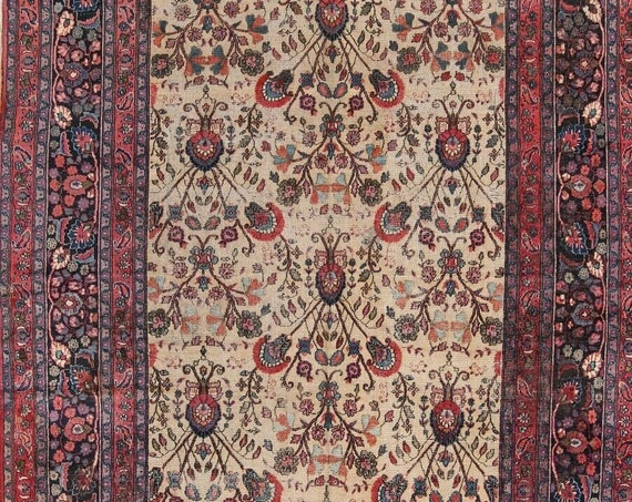 Pre-1900, Very fine hand knotted Antique room size rug. 8 x 11, Gentle wear and beautiful vegetable dyed colors. Wool on cotton foundation .