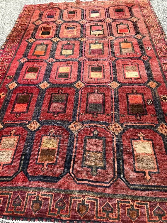 Tribal rug 4 x 6, Vintage geometric rug, all organic dyes, worn, low pile, c 1910