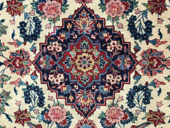 "Vintage hand knotted Tabriz carpet, 3'7"" x  5' 1"" distressed floral rug. High KPSI, velvety pile"