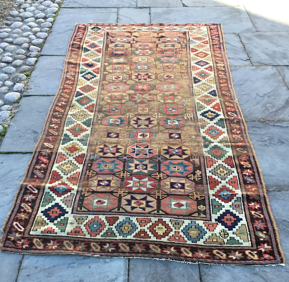 Antique Caucasian runner. c1850. Rare, excellent shape for age. All vegetable dyed wool. Colors are amazing. 8x4, Fine Antique Caucasian.
