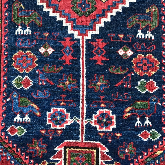 SOLD Magnificent beautiful antique Tribal runner/ Gallery Carpet c1920. In impeccable shape. Gorgeous vegetable dyed colors, animal motifs