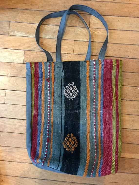 SOLD. Tote bagKilim carry all bag. 100% natural grocery bag. Vintage Kilim on heavy blue- grey canvas. All hand sewn in the US SOLD