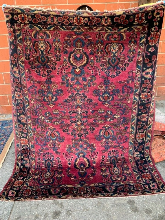 Authentic Antique cranberry Sarouk Lillihan c 1900-1920. 5 x  7, 5 x 6, All hand knotted vegetable dyed wool. Blue and Magenta area rug